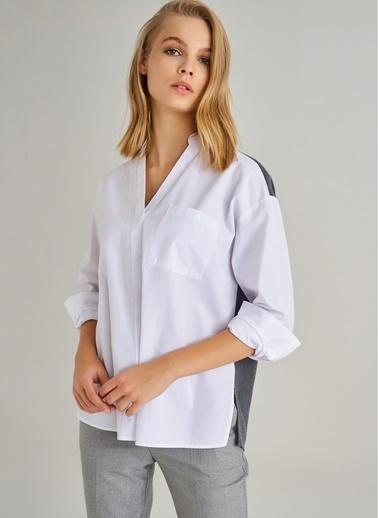 Monamoda Kontrast Kumaş Detaylı Gömlek Beyaz
